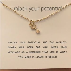 """Unlock your potential "" key necklace"
